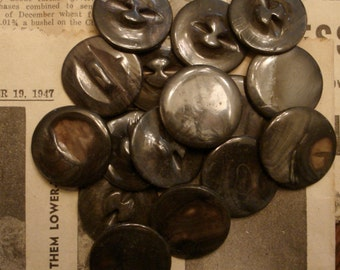 "Mother of pearl MOP vintage dyed dark brown 1"" self shank 15 buttons antique"
