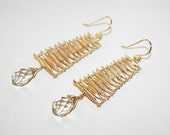 Japanese Ladder Earrings with Swarovski Crystal and 14K Gold Wires
