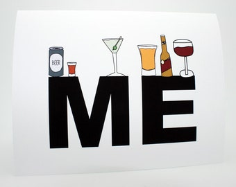 Funny Birthday Card- Funny Friend Birthday Card- Drinks On Me