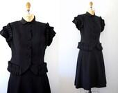 40s suit / Vintage 40s Doris Dodson Black Rayon Faille Skirt Suit