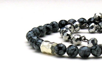 Black Gray Snowflake Obsidian Minimalist Beaded Bracelet Delicate Partner Stretch Bracelet, For Her Under 45