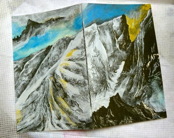 Mountains in Norway (Boutique Notebook with Giclee Cover - White / Ice Gold Arjowiggins Curious Metallics Paper - Silver Waxed Thread)