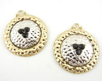 Pair of Round Textured Two Tone Charms Black Rhinestones