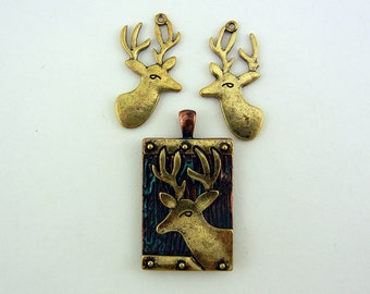 Set of Two Tone Deer Pendant and Charms