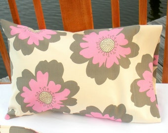 Eco Travel/Toddler Pillowcase - Organic Cotton - Pink and Gray Floral - Eco Friendly Gift Idea