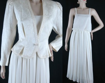 Vintage 80s White MOB Dress and Jacket Size 14 b40