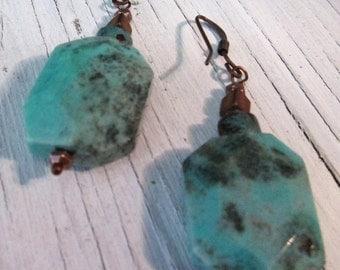 Green Moss Opal Earrings, Earthy Stone Earring