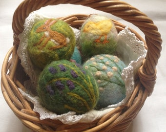 Any three designs needle felted Easter Eggs