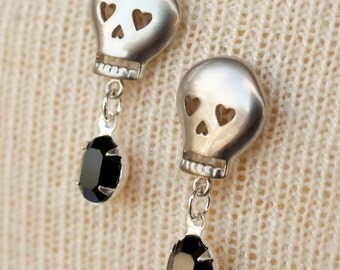 Silver Skull Earrings with Black Swarovski Rhinestones