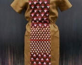 "African print dress  ""Becky"" Camel and Coral open back On Sale"