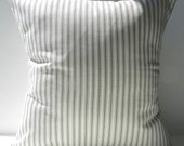 New 18x18 inch Designer Handmade Pillow Cases in grey on cream ticking stripe