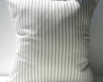 New 18x18 inch Designer Handmade Pillow Cases in grey on cream ticking stripe