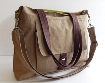 Sale - Water-Resistant Bag in khaki- messenger bag, crossbody, tote, shoulder bag, laptop, purse, everyday bag, handbag, diaper bag - AIMEE
