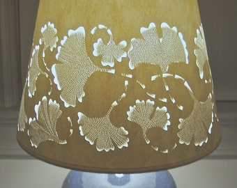 Ginkgo Galore Lampshade Intricately Cut & Pierced in Ivory (No Lamp)