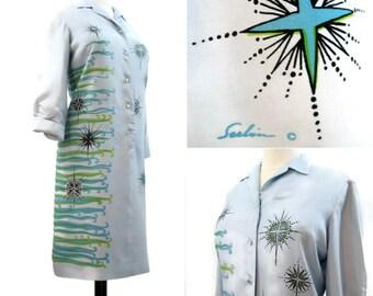 60s 70s Dress Vintage Serbin Silk Atomic Starburst Print Shirt Tunic L Repurpose as is