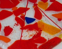 red yellow orange & cobalt; HOT AUTUMN NIGHT; for your white table; what a talking point; 20x35cms; rectangle platter; interior decor;