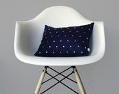 Studded Pillow Cover in Navy Linen | Polka Dot Pattern | by JillianReneDecor | Geometric Pillow | Modern Home Decor | Gold Brass Studs