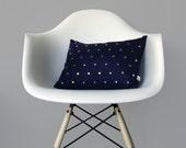 Studded Pillow Cover in Navy Linen   Polka Dot Pattern   by JillianReneDecor   Geometric Pillow   Modern Home Decor   Gold Brass Studs