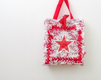 Large Red & White Plarn Bag / Fully Lined Crochet Tote Bag / Shopping Star / Red - White Eco Friendly / OOAK Unique Gift Under 50