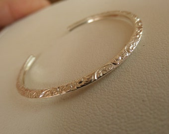 Patterned Petite Sterling Silver Baby Bracelet Cuff for Newborns