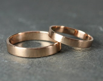 Rose Gold Wedding Band Set, 14K Gold Wedding Rings, 3mm and 4mm, Matte Finish, Sea Babe Jewelry
