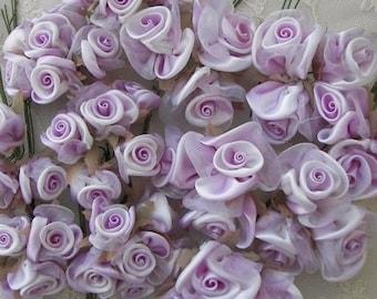 36pc LAVENDER WHITE Satin Ribbon Wired Rose Rosette Flower Applique Bridal Hair Bow