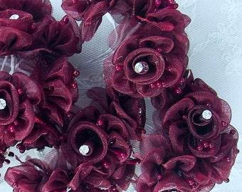 18 Chic BURGUNDY Organza Ribbon Wired Rose Flower w rhinestone Christmas Holiday Bridal Wedding Favor Bow Hair Accessory Applique