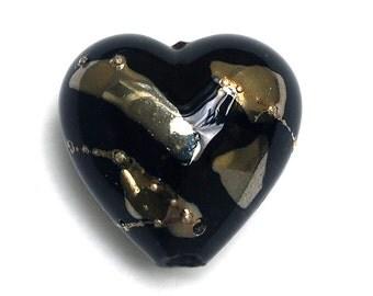 Elegant Black Metallic Heart Focal Bead - Handmade Lampwork Bead 11819605