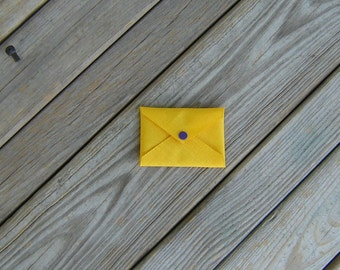 Yellow Gold Cordura Card Holder with Purple Snap