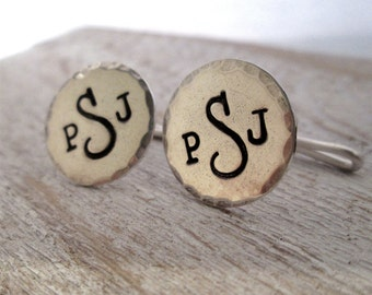 Personalized Cuff Links - Hand Stamped Cuff Links - Men's Cuff Links