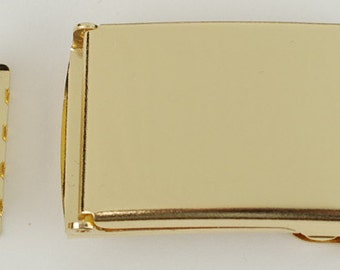 """1"""" Belt Buckle and End Tip -Flip Top Style - SHINY BRASS"""