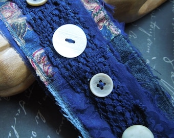 Navy Blue Textile Cuff with 4 Creme Buttons