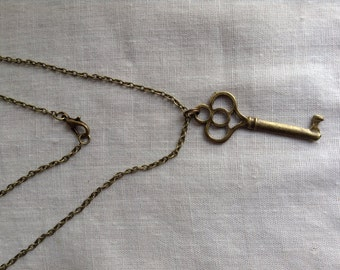 Key Necklace, Skeleton Key Jewelry, Steampunk Antiqued Key Necklace