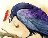 The Offering - Northern Raven Amanita Mushroom Shaman Fly Agaric Viking Crow Stick Eye Magic Woodland Otherworld...
