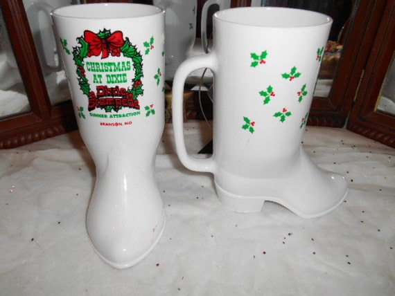 Vintage 2 Hard Plastic Figural Cowgirl Boots Drinking Glasses