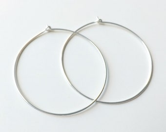 Extra Large Silver Hoops, 2 Inch Sterling Silver Hoop Earrings, Hammered Sterling Silver Hoop Earring eco friendly fashion
