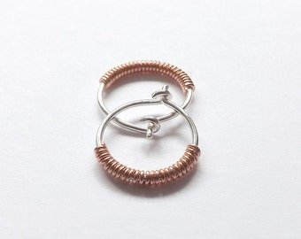 Silver Hoop Earrings Copper Wrapped Sterling Silver Hoops, Mixed Metal, Eco Friendly, Choose Your Size, Gift for Women, Jewelry Gift