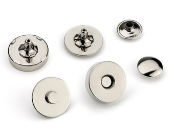 10pcs Double Rivet Magnetic Purse Snaps 18mm - Nickel - Free Shipping - (MAGNET SNAP MAG-198)