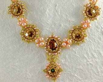 Necklace Crystal Pink Brown Gold Green Rivoli Jewelry Romantic Retro Beaded Beadwoven Beadveaving