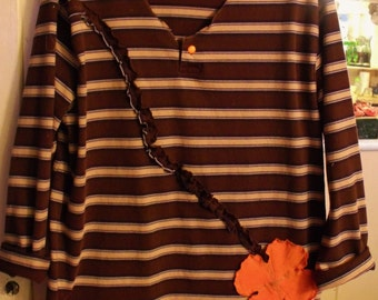 Plus Size Tunic/Mini Dress/Upcycled/Brown and Tan Stripe/Funky Flower Accent