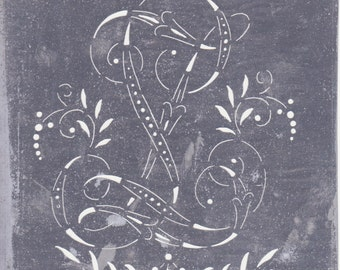 Antique Tin Stencil LZ or ZL Larger in Size