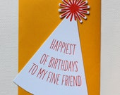 Letterpress Party Hat Birthday Card
