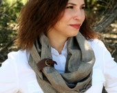 Chambray Infinity Scarf - Mocha - with Leather Cuff