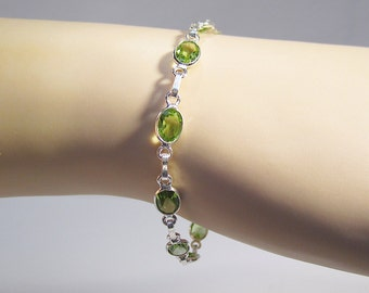 Peridot Sterling Gemstone Bracelet