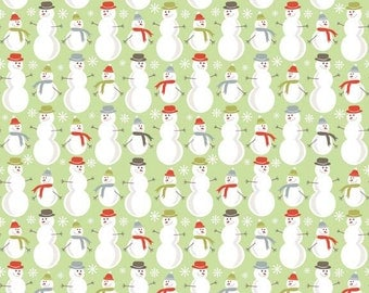 Merry Snowmen on Green from Riley Blake Fabrics ~ on sale
