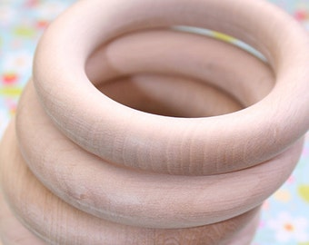 5 x 80mm Organic, natural wooden teething rings, Made to EU standards