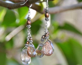 Hand Crafted Sunstone Cluster Drop French Wire Earrings, Sunstone Earrings, Sunstone Drop Earrings, Fancy French Wire Earrings, Cluster Drop
