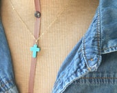 Turquoise Cross Necklace, Gold Filled Necklace, Dainty, Delicate, Bohemian Style, Handmade Jewelry