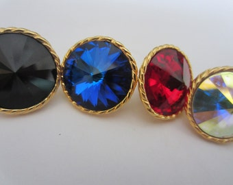 Vintage Button - 4 beautiful large center stones, mirror, ruby red, sapphire, black, gold metal setting,  (lot 2021-2)