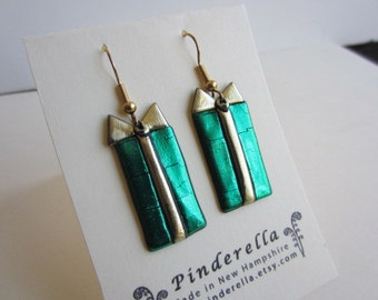 Green Christmas Present  holiday earrings
